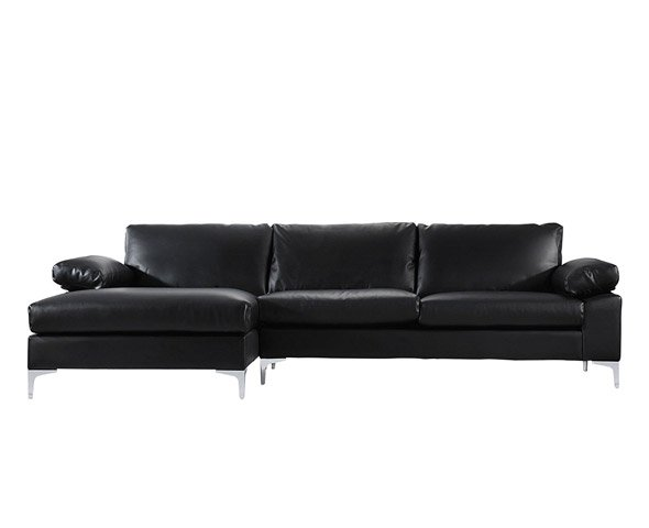 Modern Large Faux Leather Sectional, Large Sectional Sofa With Chaise Lounge